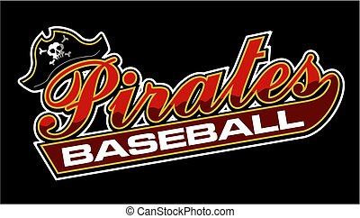 pirates baseball team design in script with tail for school,...