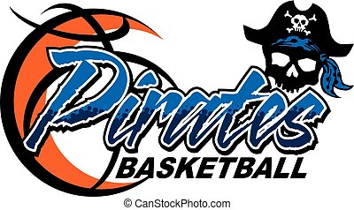 pirates basketball team design with basketball and skull