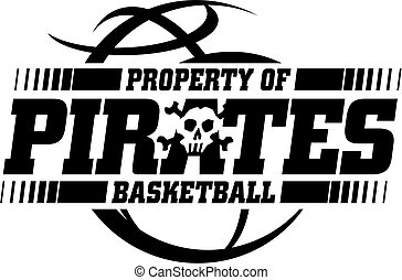 pirates basketball team design with ball and mascot skull...