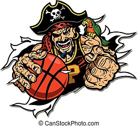 pirates basketball player ripping through the background for...