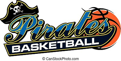 pirates basketball team design in script with tail for school, college or league