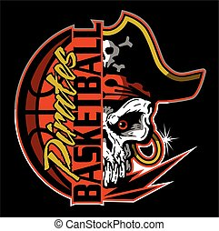 pirates basketball team design with half mascot skull and ...