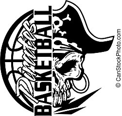 pirates basketball team design with jolly roger skull and...