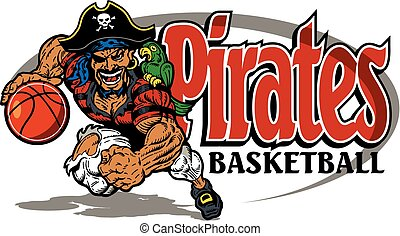 pirates basketball team design with running mascot for...