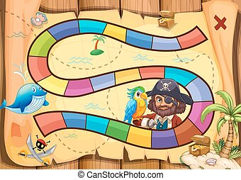 Pirates boardgame - Pirate boardgame theme with parrot