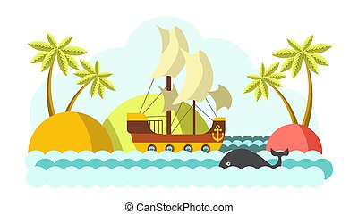 Pirates boat with sail in sea vector colorful illustration