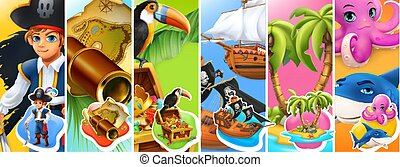 Pirates. Boy, spyglass and map, treasure chest, ships, island and palm trees, octopus and shark cartoon characters. 3d vector icon set