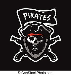 pirates., capitán, cráneo