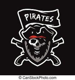 pirates., capitaine, crâne