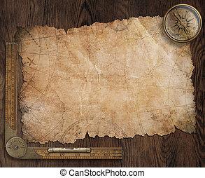 pirates, carte trésor, sur, vieux, bureau bois, 3d, illustration