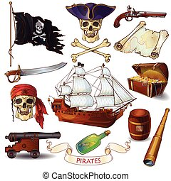 Pirates Cartoon Icons Set