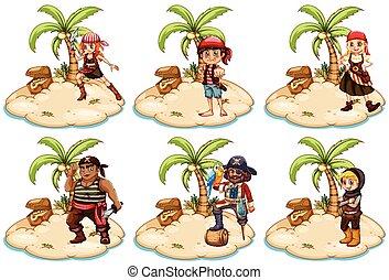 Pirates - Illustration of set of pirates on the island