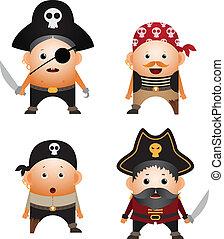Pirates - Set of cartoon pirates