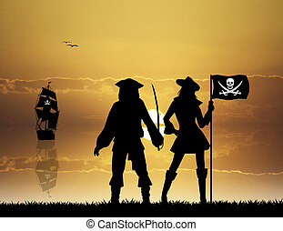 Pirates - illustration of pirates