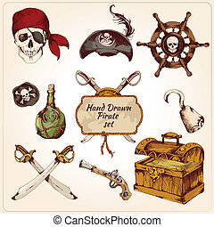 Pirates colored icons set - Hand drawn colored pirates...