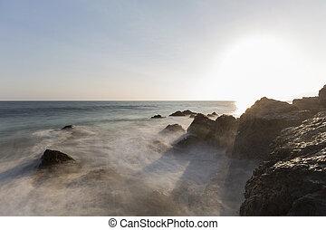 Pirates Cove Motion Blur Waves at Sunset in Malibu