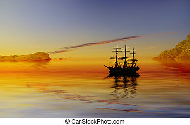Pirates cove - Ghost ship at beautiful sunset