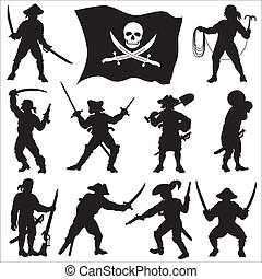 "Ten pirates silhouettes with a flag ""Jolly Roger""."