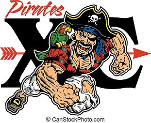 pirates cross country - pirate mascot running cross country