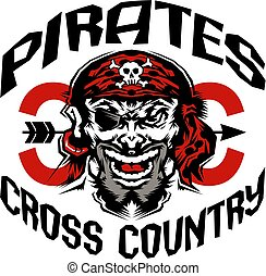 pirates cross country team design with mascot for school, ...
