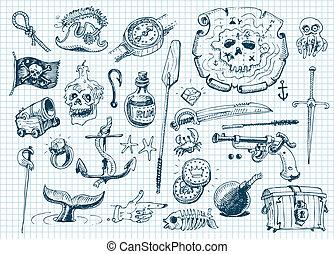 Pirates doodles set