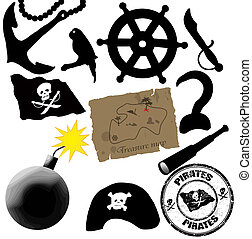 Pirates elements - vector collection of isolated elements...
