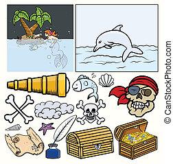 Pirates Elements Vector - Treasure