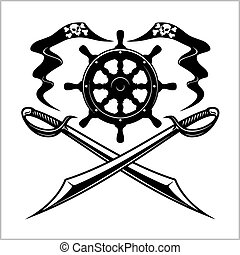 Pirates emblem - steering wheel and crossed swords or...