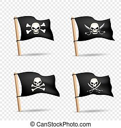 pirates flags set transparent background