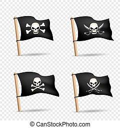pirates flags set transparent background