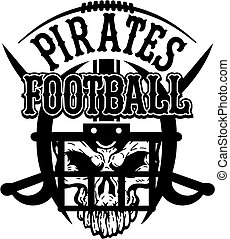 pirates football team design with crossed swords and skull...