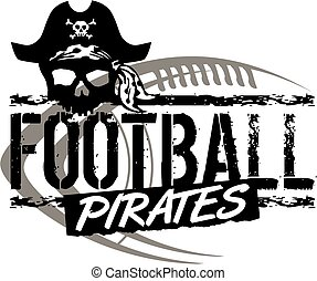 pirates football team design with skull and ball