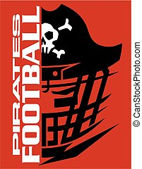 pirates football team design with helmet and skull for...