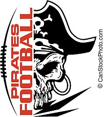 pirates football team design with mascot and laces for...