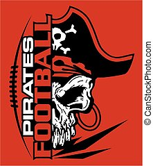 pirates football team design with mascot and laces for school, college or league