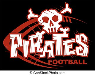 pirates football team design with skull and laces for...