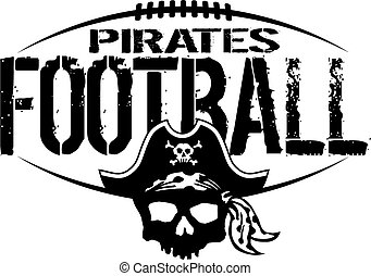 pirates football team design with skull and laces