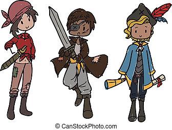 pirates hand drawn