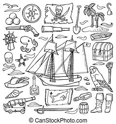 Pirates hand drawn set