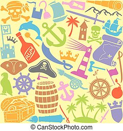 pirates icons seamless pattern