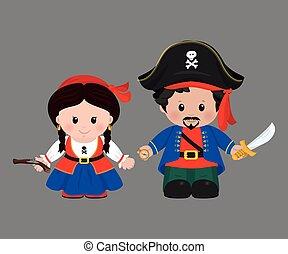 Pirates in cartoon style