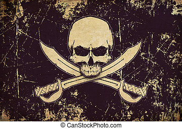 Pirates Jawless Skull and Swords Aged Flat Flag