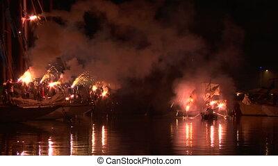 "Pirate landing representation during ""Vele d'Epoca"" events on 5 september 2012, Imperia (Italy)"