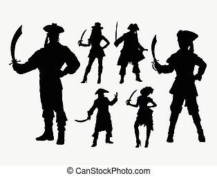 Pirates male and female silhouette