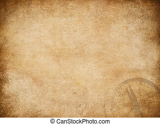 Pirates map background with compass. - Aged pirates map...