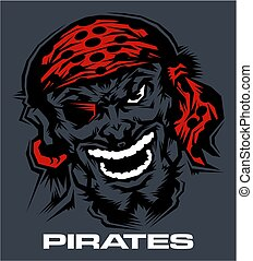pirates mascot face with patch and bandana for school,...