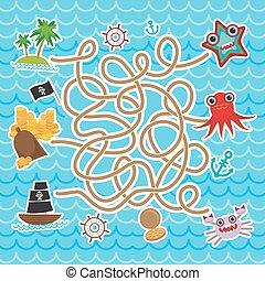 pirates., mignon, objets, labyrinthe, animaux, collection, bateaux, jeu, vecteur, mer, children., préscolaire