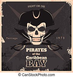 Pirates Of Carribbean Bay Vintage Poster