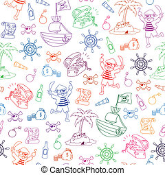 pirates pattern - seamless pattern with pirate themed...