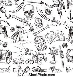 Pirates pattern. Hand drawn